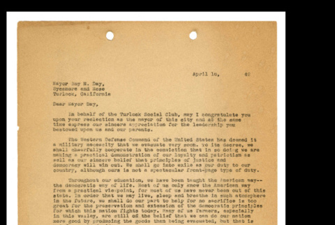 Letter from Tsuneo Iwata to Mayor Roy M. Day, April 16, 1942 (ddr-csujad-46-13)