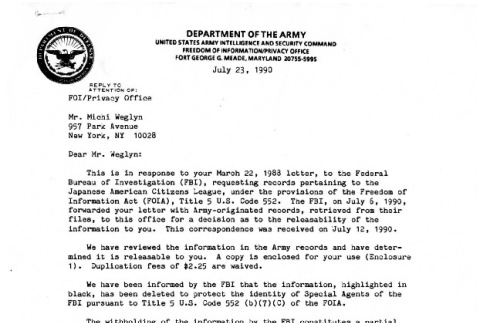 Letter from Robert J. Walsh Jr., Chief, Freedom of Information/Privacy Office, Department of the Army, to Michi Weglyn, July 23, 1990 (ddr-csujad-24-208)