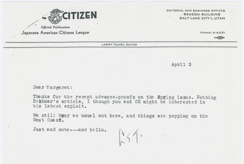 Letter from Larry Tajiri to Margaret Anderson, editor of Common Ground (ddr-densho-338-454)