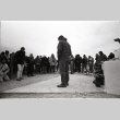 Pilgrimage ceremony in front the Manzanar Cemetery Momunent (ddr-manz-3-12)