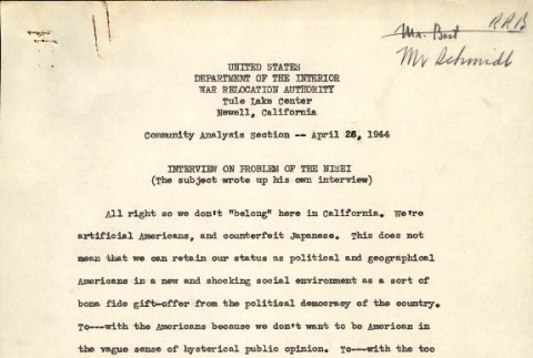 [Interview on problem of the Nisei] and [Emotional repression in a War Relocation Authority Center] (ddr-csujad-2-55)