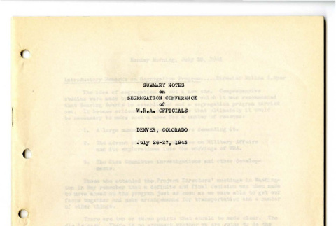 Summary Notes on Segregation Conference of W.R.A. Officials (ddr-csujad-19-56)