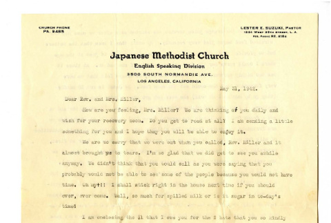 Letter from Lester E. Suzuki to Mrs. Miller, 1942 May 31 (ddr-csujad-20-16)