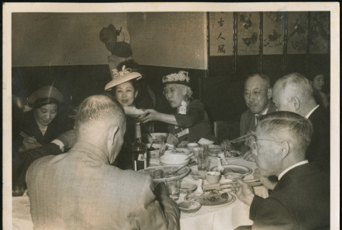 Kimiko and Seiso Bitow dine at a table (ddr-densho-395-93)