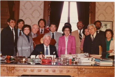 Signing ceremony for Washington State Japanese American State Employees Compensation Bill (ddr-densho-10-105)