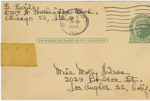 Postcard to Molly Wilsom from Sandie Saito (May 31, 1944) (ddr-janm-1-20)