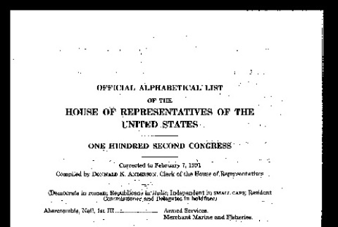 Official alphabetical list of the House of Representatives of the United States, 102nd Congress (February 7, 1991) (ddr-csujad-55-2138)