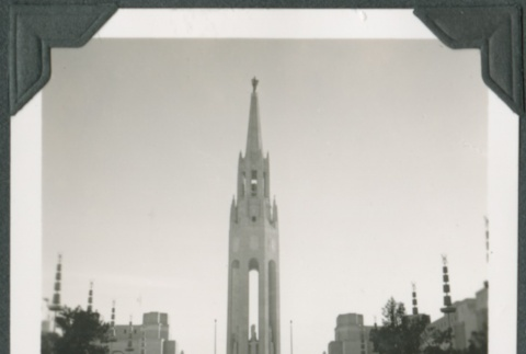 View of a tower at the Golden Gate International Exposition (ddr-densho-300-158)
