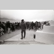Pilgrimage ceremony in front the Manzanar Cemetery Momunent (ddr-manz-3-10)