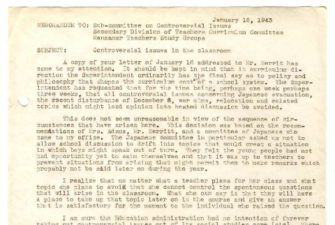 Memorandum from Genevieve W. Carter to Sub-Committee on Controversial Issues, January 18, 1943 (ddr-csujad-48-97)