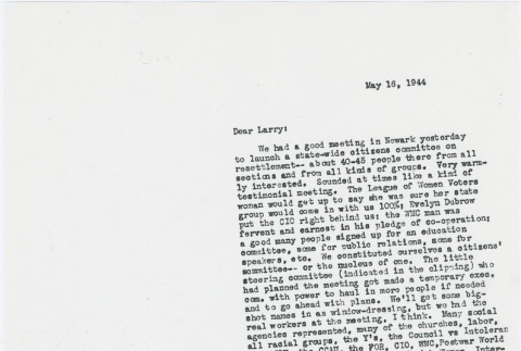 Letter to Larry Tajiri from Margaret Anderson, editor of Common Ground (ddr-densho-338-451)