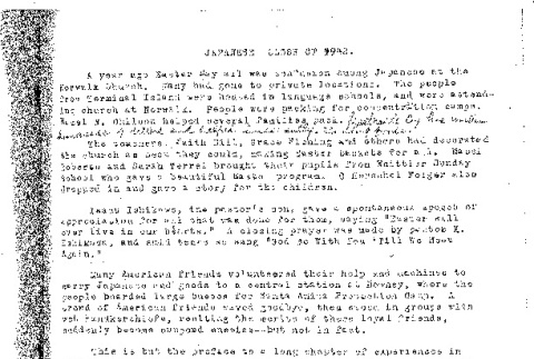 Documents on the members of the Friends Japanese Church in Norwalk during the incarceration (ddr-csujad-57-25)