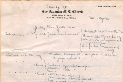 Notes on conference theme, youth, Bear your cross (ddr-densho-341-107)