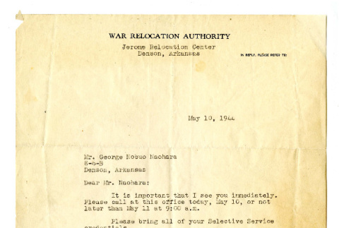 Letter from Robert Allison A., Chairman, Leave Clearance Committee, to George Naohara, May 10, 1944 (ddr-csujad-38-564)