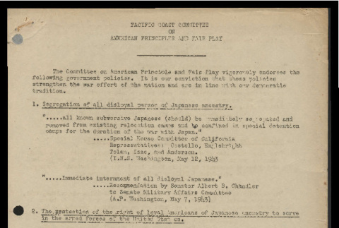 Endorsement of government policies by the Pacific Coast Committee on American Principles and Fair Play (ddr-csujad-55-1741)