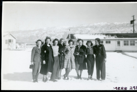 Photograph of a group of women in front of staff housing (ddr-csujad-47-172)