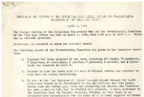 [Minutes of the special meeting of the divisional responsible men of the Tule Lake Center, April 8, 1944] (ddr-csujad-2-19)