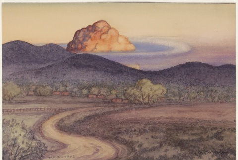 Painting of a cloud formation over hills (ddr-manz-2-3)