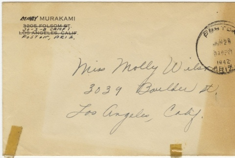 Letter (with envelope) to Molly Wilson from Mary Murakami (June 28, 1942) (ddr-janm-1-28)