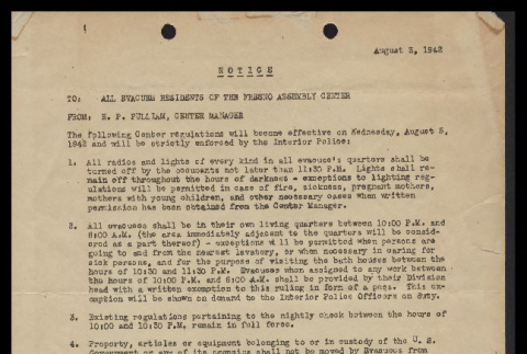 Notice from E.P. Pullman, Center Manager, Fresno Assembly Center to All Evacuee Residents of the Fresno Assembly Center, August 3, 1942 (ddr-csujad-55-122)