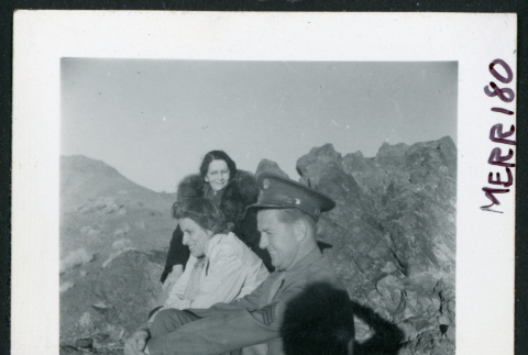 Photograph of L. Josephine Hawes, Mrs. Chamberlain and an army guard in Death Valley (ddr-csujad-47-97)