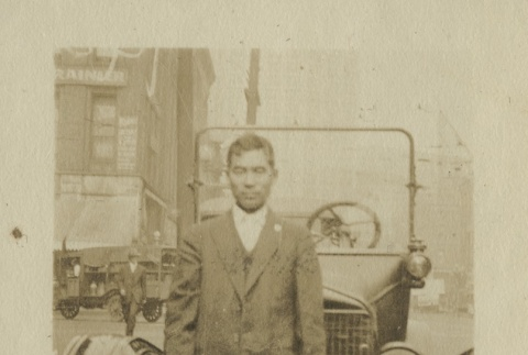 Issei with his Model T Ford (ddr-densho-124-24)