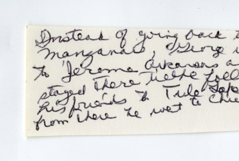 George Nobuo Naohara's handwritten note: experiences during the war (ddr-csujad-38-95)
