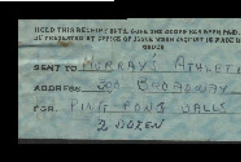 Receipt from Murray's Athletic Company for two dozen ping pong balls (ddr-csujad-55-947)