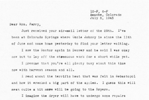 Letter from Kazuo Ito to Lea Perry, July 5, 1945 (ddr-csujad-56-116)