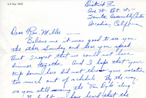 Letter from George Yoshioka to Rev. [Wendell L.] Miller, [September 11, 1942] (ddr-csujad-20-6)