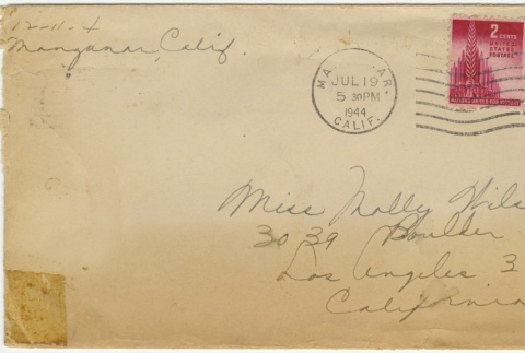 Letter (with envelope) to Molly Wilson from Chiyeko Akahoshi (July 14, 1944) (ddr-janm-1-113)