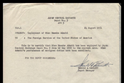 Letter from Harold A. Barratt, Depot Manager, to Foreign Service of the United States of America, August 24, 1951 (ddr-csujad-55-2252)