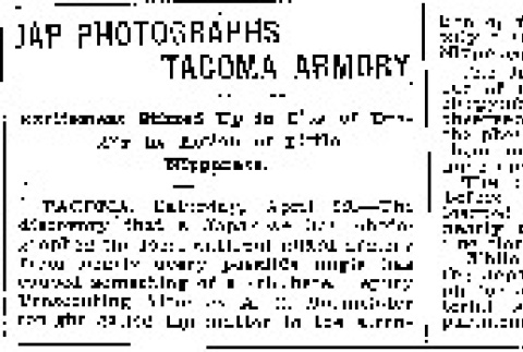 Jap Photographs Tacoma Armory. Excitement Stirred Up in City of Destiny by Action of Little Nipponese. (April 30, 1911) (ddr-densho-56-202)