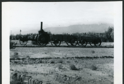 Photograph of a borax train at Furnace Creek Camp in Death Valley (ddr-csujad-47-104)
