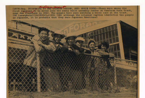 Some of the first arrivals to the assembly center at Tanforan Race Track, near San Francisco in 1942 (ddr-csujad-52-4)