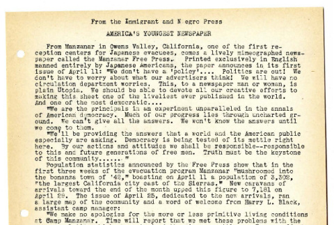 From the Immigrant and Negro Press-AMERICA'S YOUNGEST NEWSPAPER (ddr-csujad-19-52)