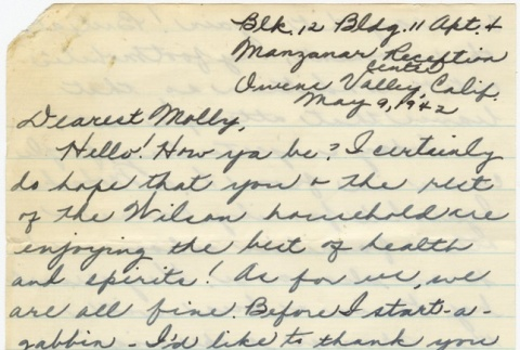 Letter to Molly Wilson from Chiyeko Akahoshi (May 9, 1942) (ddr-janm-1-101)