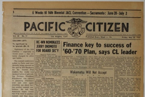 Pacific Citizen, Vol. 50, No. 21 (May 20, 1960) (ddr-pc-32-21)