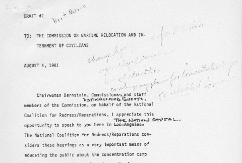 Testimony of the National Coalition for Redress/Reparations (ddr-densho-67-331)