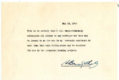 Note from Harry Bentley Wells, May 18, 1943 (ddr-csujad-48-85)