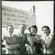 Photograph of Bea White and son, with Lucille Bouche and Elizabeth Moxley at the closing of Manzanar (ddr-csujad-47-328)