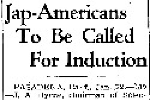 Jap-Americans To Be Called For Induction (January 22, 1944) (ddr-densho-56-1013)