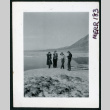 Photograph of four women in front of standing water at Bad Water in Death Valley (ddr-csujad-47-100)