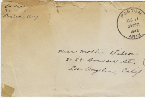 Letter (with envelope) to Mollie Wilson from Sadae (Lillian) Nishioka (August 9, 1943) (ddr-janm-1-96)