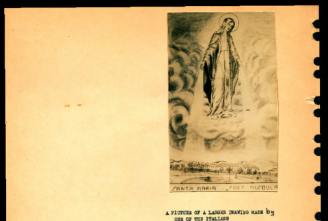 Photograph of a drawing and a prayer card from an Italian internee, Ft. Missoula, Montana (ddr-csujad-55-1341)