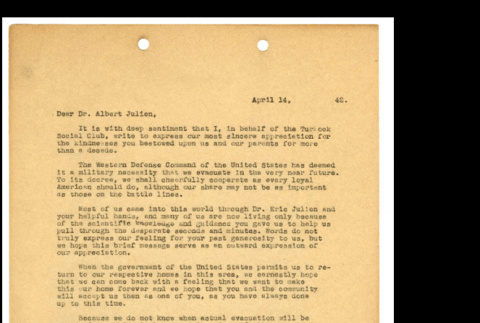 Letter from Tsuneo Iwata to Dr. Albert Julien, April 11, 1942 (ddr-csujad-46-8)