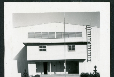Photograph of the Manzanar auditorium after the camp closed (ddr-csujad-47-1)