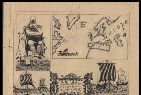 Viking with ships and map illustration (ddr-csujad-55-2532)