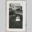 Baby girl sits on grass laughing (ddr-densho-321-28)