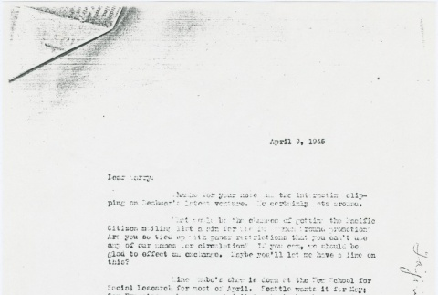 Letter to Larry Tajiri from Margaret Anderson, editor of Common Ground (ddr-densho-338-455)